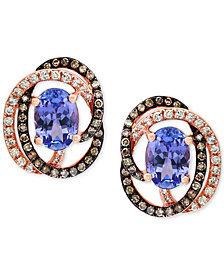 Tanzanite Royalé by EFFY® Tanzanite (1-1/3 ct. t.w.) and Diamond (1/3 ct. t.w.) Stud Earrings in 14k Rose Gold