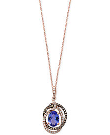 Tanzanite Royalé by EFFY® Tanzanite (1-1/8 ct. t.w.) and Diamond (1/4 ct. t.w.) Pendant Necklace in 14k Rose Gold