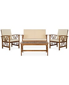 Kerten Outdoor 4-Pc. Seating Set (1 Loveseat, 2 Chairs & 1 Coffee Table)