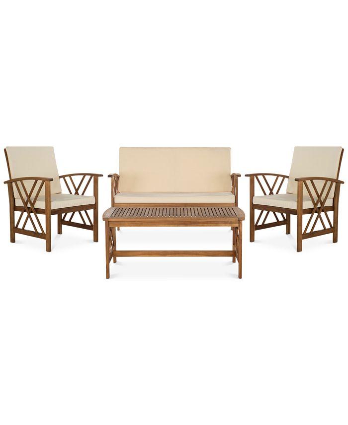 Safavieh - Kerten Outdoor 4-Pc. Seating Set (1 Loveseat, 2 Chairs & 1 Coffee Table), Quick Ship