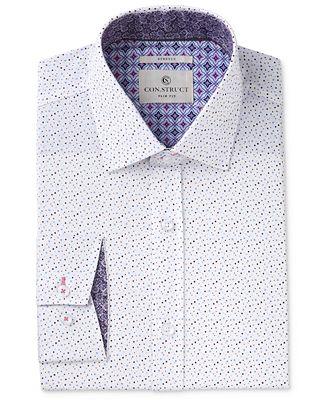 Con.Struct Men's Slim-Fit Stretch White/Blue Fun Dots Dress Shirt