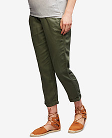 A Pea In The Pod Maternity Linen-Blend Cropped Pants