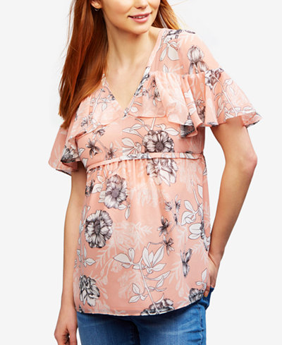 A Pea In The Pod Maternity Floral-Print Ruffled Blouse