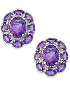 Amethyst Flower Stud Earrings (5 ct. t.w.) in Sterling Silver