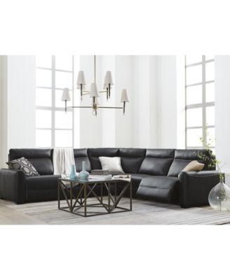 Marzia Leather Power Reclining Sectional Collection Created for Macyu0027s  sc 1 st  Macyu0027s : black reclining sectional - islam-shia.org