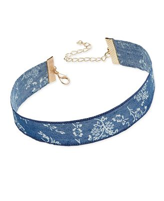 INC International Concepts Gold-Tone Floral Denim Choker Necklace, Created for Macy's