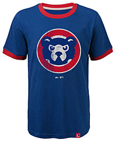 Majestic Chicago Cubs Baseball Stripes Coop Ringer T-Shirt, Big Boys (8-20)