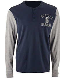 '47 Brand Men's Seattle Mariners Downfield Henley Long Sleeve T-Shirt