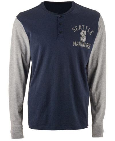 '47 Brand Men's Seattle Mariners Downfield Henley Long Sleeve T-Shirt