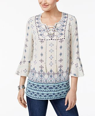 Style & Co Lace Up Peasant Top, Created for Macy's