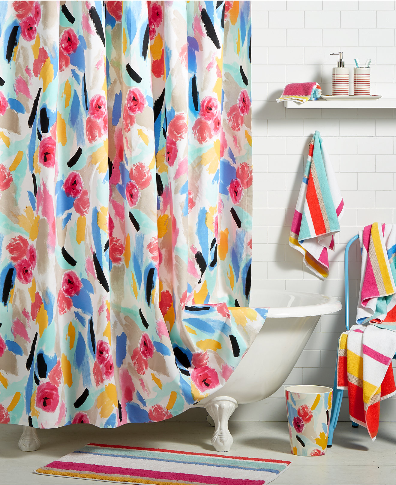 Black and white monogrammed shower curtain - Kate Spade New York Paintball Floral Bath Collection