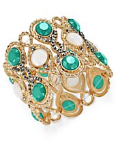 INC International Concepts Gold-Tone Hematite Pavé & Colored Stone Stretch Bracelet, Created for Macy's