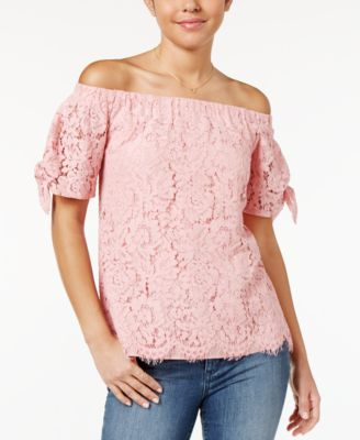 Image of Miss Chievous Juniors' Off-The-Shoulder Lace Top
