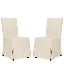 Oreton Set of 2 Slip Cover Dining Chairs, Quick Ship