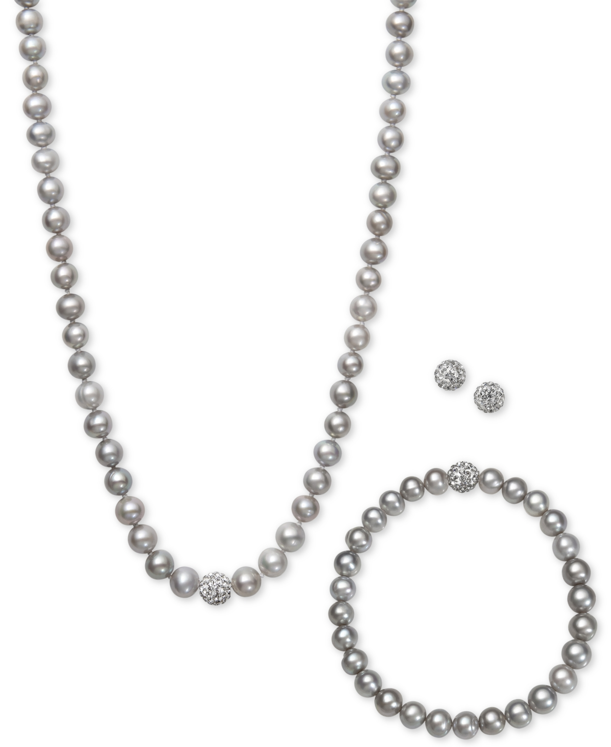 White, Gray or Pink Cultured Freshwater Pearl (7mm) & Crystal Collar Jewelry Set