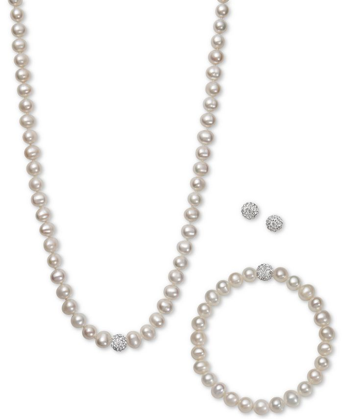 Belle de Mer - White, Gray or Pink Cultured Freshwater Pearl (7mm) and Crystal Collar Jewelry Set