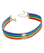 INC International Concepts Gold-Tone Rainbow Ribbon Pineapple Choker Necklace, Created for Macy's