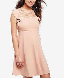 Taylor Maternity Flutter-Sleeve A-Line Dress