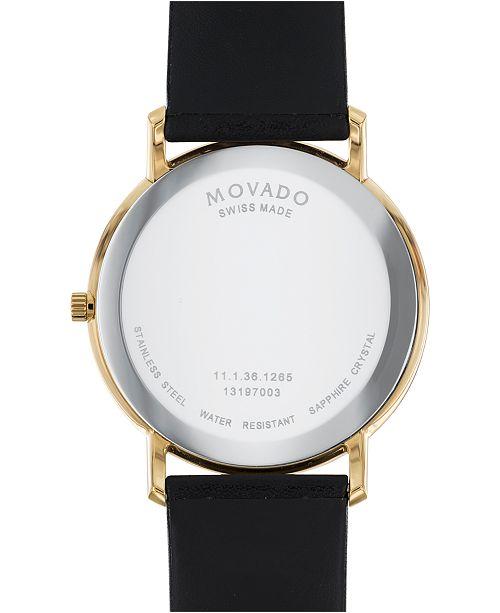 7aa68dbd1 ... Movado Men's Swiss Sapphire Black Leather Strap Watch 40mm 0606883 ...