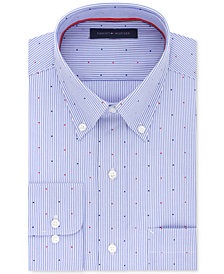 Tommy Hilfiger Men's Classic-Fit Non-Iron Stripe Dot-Print Cotton Dress Shirt