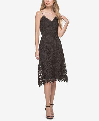 GUESS Spaghetti-Strap Lace A-Line Dress - Dresses - Women - Macy's