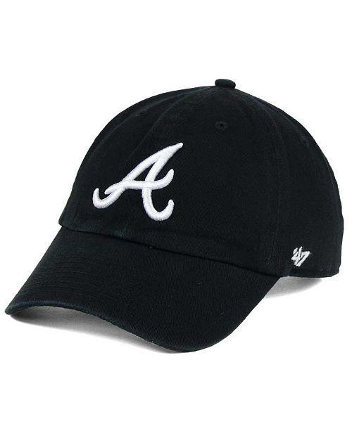'47 Brand Atlanta Braves Black White Clean Up Cap