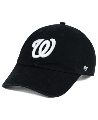 '47 Brand Washington Nationals Black White Clean Up Cap
