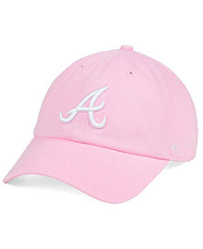 '47 Brand Women's Atlanta Braves Pink/White Clean Up Cap
