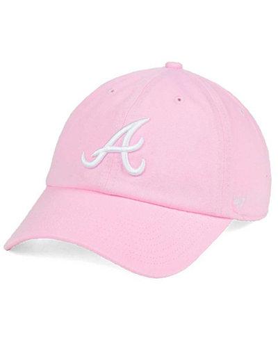 '47 Brand Women's Atlanta Braves Pink/White Clean Up Cap