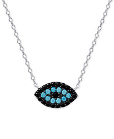 Manufactured Turquoise and Black Crystal Evil-Eye Pendant Necklace in Sterling Silver