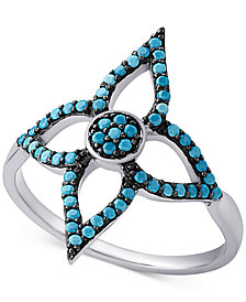 Manufactured Turquoise Flower Ring in Sterling Silver