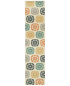 "CLOSEOUT! JHB Design  Soleil Sunburst Multi 1'10"" x 7'6"" Indoor/Outdoor Runner Rug"