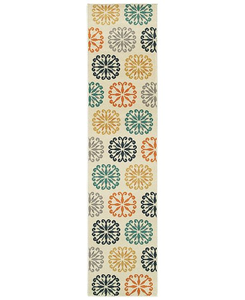 "JHB Design CLOSEOUT!  Soleil Sunburst Multi 1'10"" x 7'6"" Indoor/Outdoor Runner Rug"