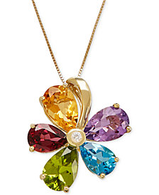 Multi-Gemstone (12-7/8 ct. t.w.) and Diamond Accent Flower Pendant Necklace in 14k Gold