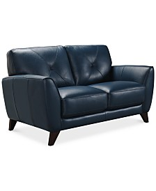 """Myia 62"""" Leather Loveseat, Created for Macy's"""