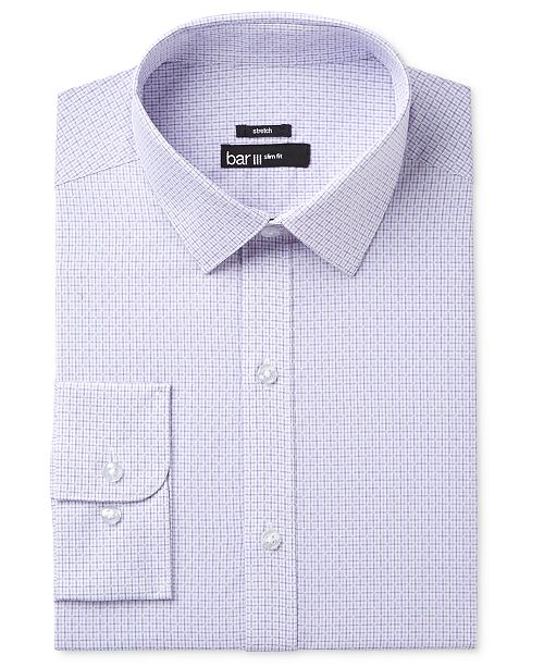 Bar III Men's Slim-Fit Stretch and Easy Care Purple Diamond Windowpane Dress Shirt, Created for Macy's