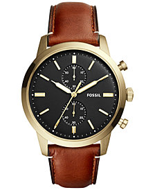 Fossil Men's Chronograph Townsman Brown Leather Strap Watch 44mm FS5338