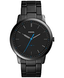 Fossil Men's The Minimalist Black Stainless Steel Bracelet Watch 44mm FS5308