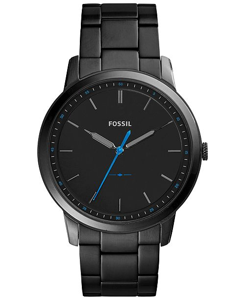 d35907341c5 ... Fossil Men s The Minimalist Black Stainless Steel Bracelet Watch 44mm  FS5308 ...