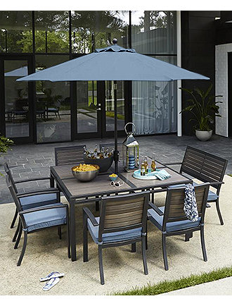 Image 2 Of CLOSEOUT Harlough Outdoor Aluminum 8 Pc Dining Set 62