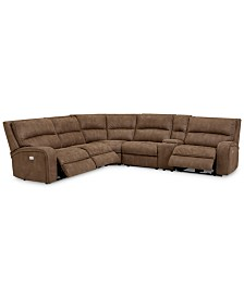 Brant 6-Pc. Fabric Sectional Sofa with 3 Power Recliners, Power Headrests, Console and USB Power Outlet