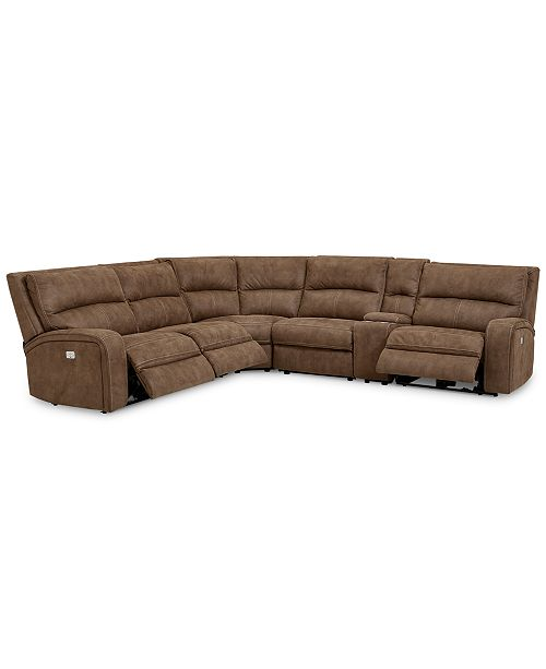 Furniture Brant 6-Pc. Fabric Sectional Sofa with 3 Power Recliners ...