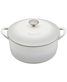 Natural Canvas Cast Iron 5.5 Qt. Round Covered Casserole