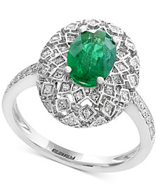 Brasilica by EFFY® Emerald (1-1/8 ct. t.w.) and Diamond (1/4 ct. t.w.) Ring in 14k White Gold