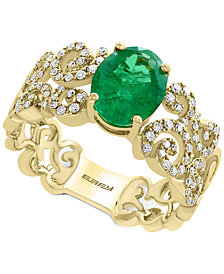 Brasilica by EFFY® Emerald (1-1/2 ct. t.w.) and Diamond (1/3 ct. t.w.) Ring in 14k Gold