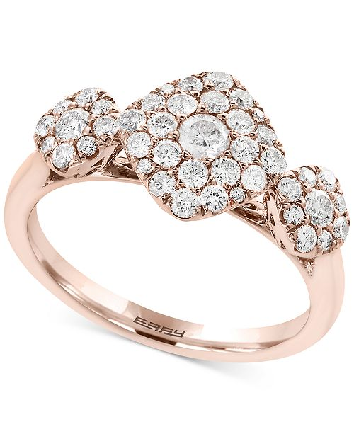 EFFY Collection Pavé Rose by EFFY® Diamond Tri-Cluster Ring (3/4 ct. t.w.) in 14k Rose Gold