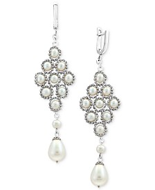 Pearl Lace by EFFY® Cultured Freshwater Pearl (4-1/2mm, 8-1/2mm) Lace Drop Earrings in Sterling Silver