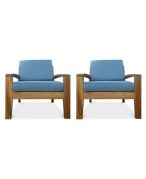 Noble House Caylen Set of 2 Outdoor Club Chairs