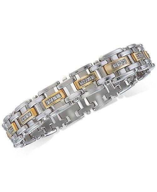 f5173e48ce467 Macy's Men's Diamond Two-Tone Link Bracelet (3/4 ct. t.w.) in ...