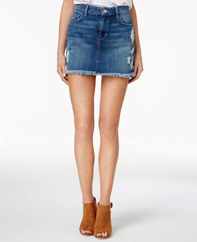 GUESS Stella Cotton Ripped Denim Mini Skirt - Skirts - Women - Macy's